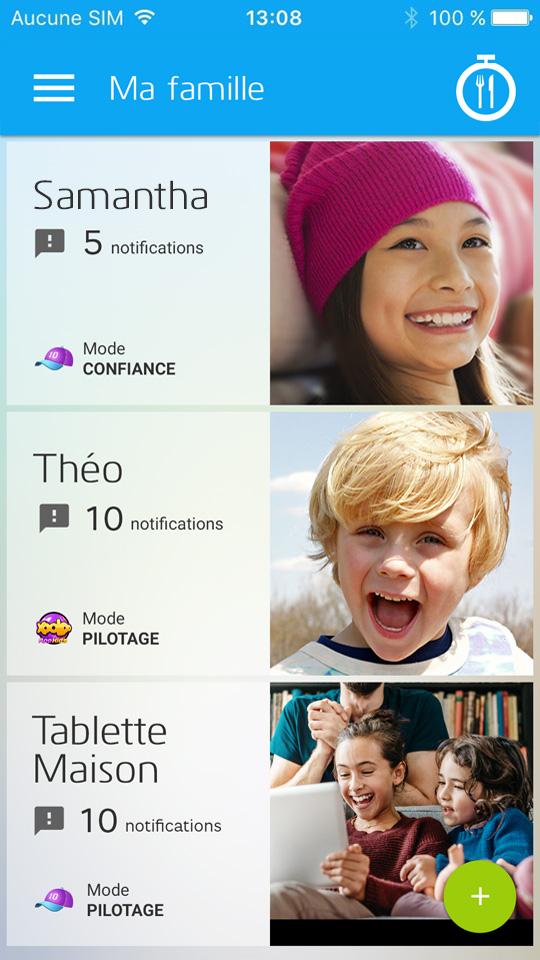 Sélection d'un profile enfant sur l'application pour les parent pour Xooloo Digital Coach